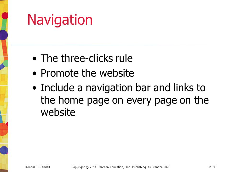 Navigation The three-clicks rule Promote the website