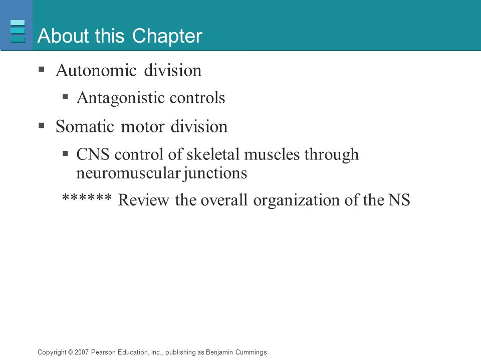 About this Chapter Autonomic division Somatic motor division