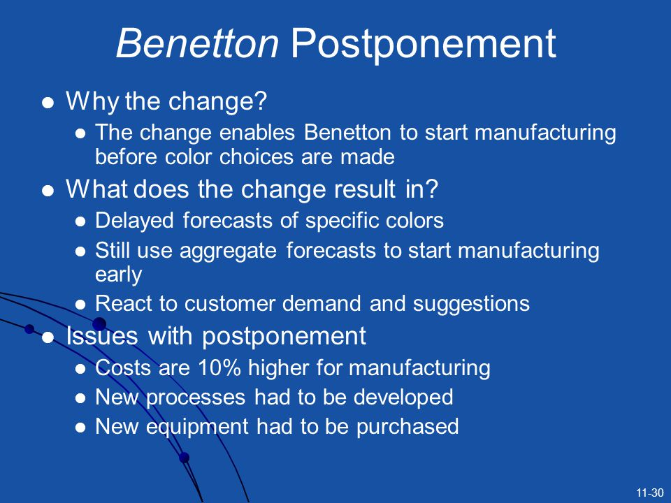 Benetton Postponement