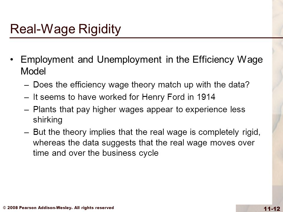 Real-Wage Rigidity Employment and Unemployment in the Efficiency Wage Model. Does the efficiency wage theory match up with the data
