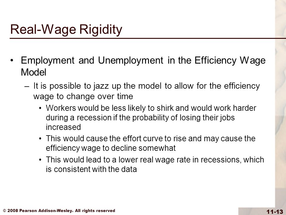 Real-Wage Rigidity Employment and Unemployment in the Efficiency Wage Model.