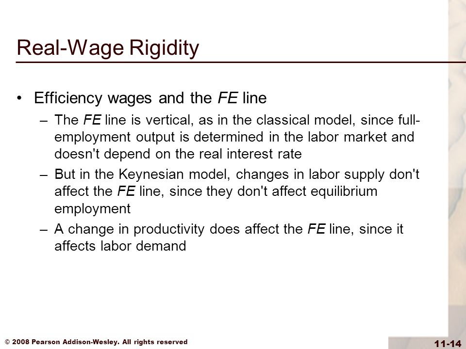 Real-Wage Rigidity Efficiency wages and the FE line