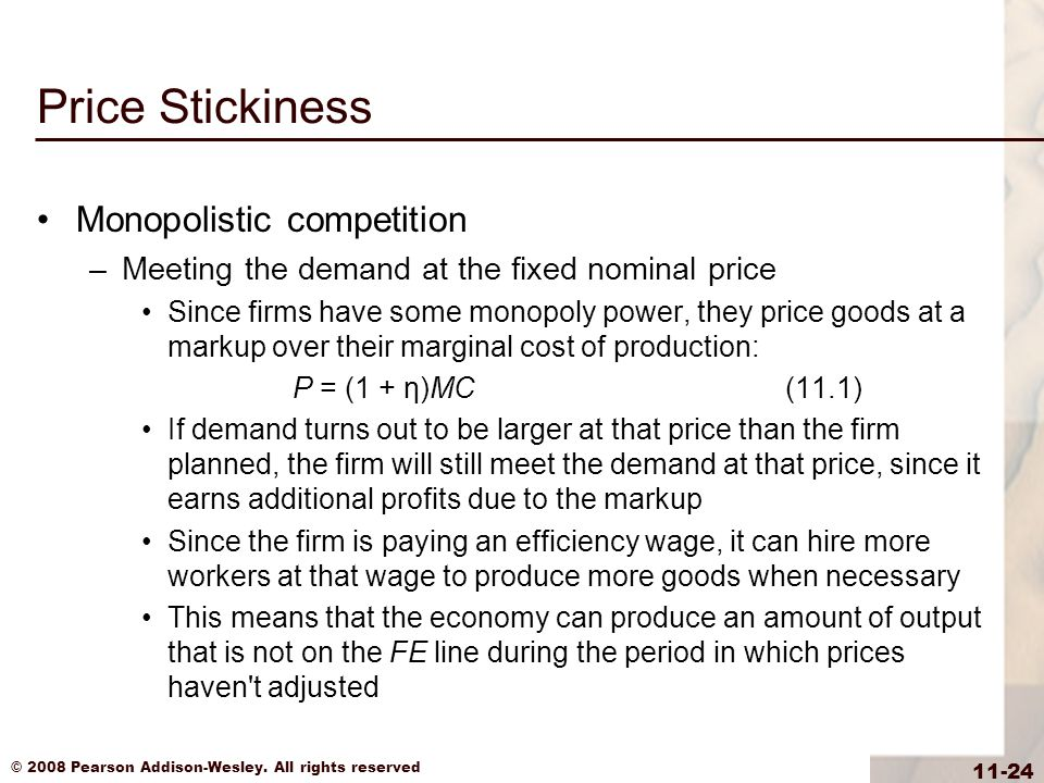 Price Stickiness Monopolistic competition
