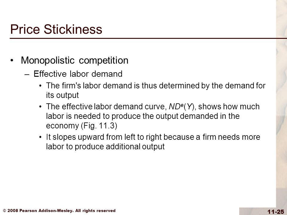 Price Stickiness Monopolistic competition Effective labor demand