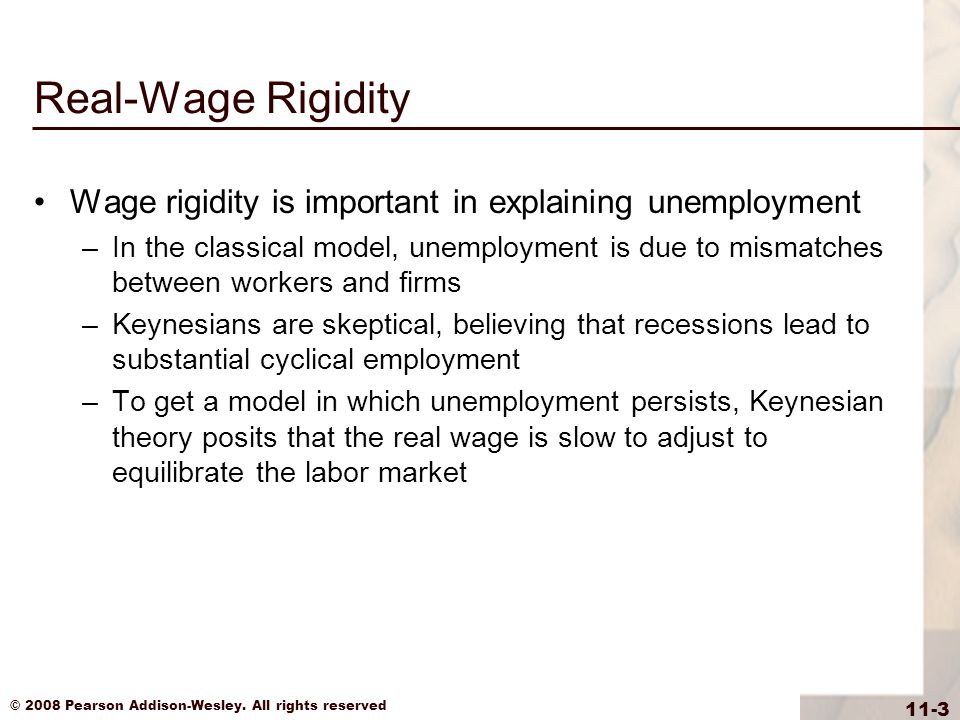 Real-Wage Rigidity Wage rigidity is important in explaining unemployment.
