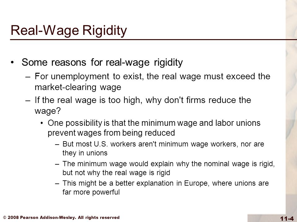 Real-Wage Rigidity Some reasons for real-wage rigidity