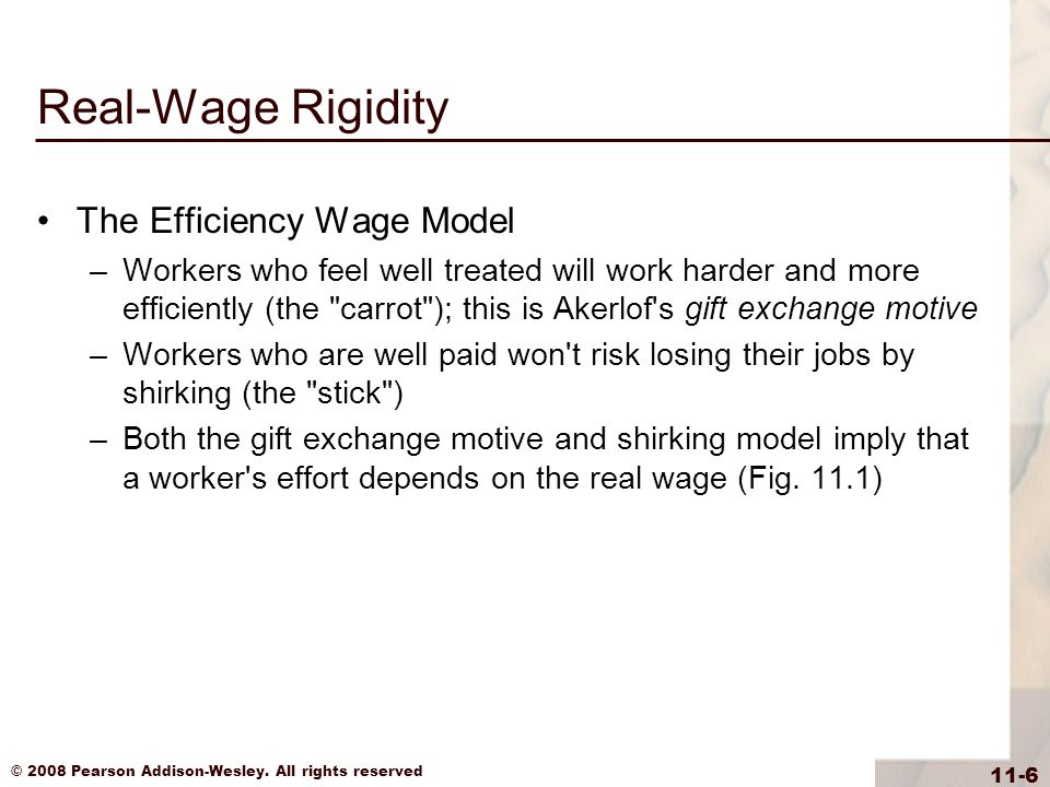 Real-Wage Rigidity The Efficiency Wage Model