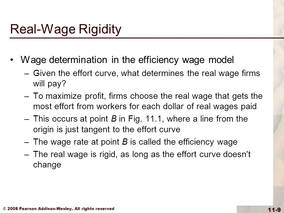Real-Wage Rigidity Wage determination in the efficiency wage model