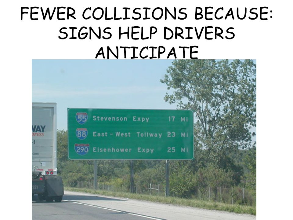 FEWER COLLISIONS BECAUSE: SIGNS HELP DRIVERS ANTICIPATE