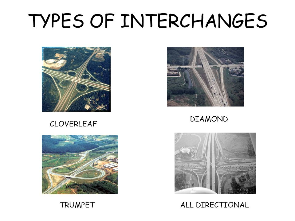 TYPES OF INTERCHANGES DIAMOND CLOVERLEAF TRUMPET ALL DIRECTIONAL