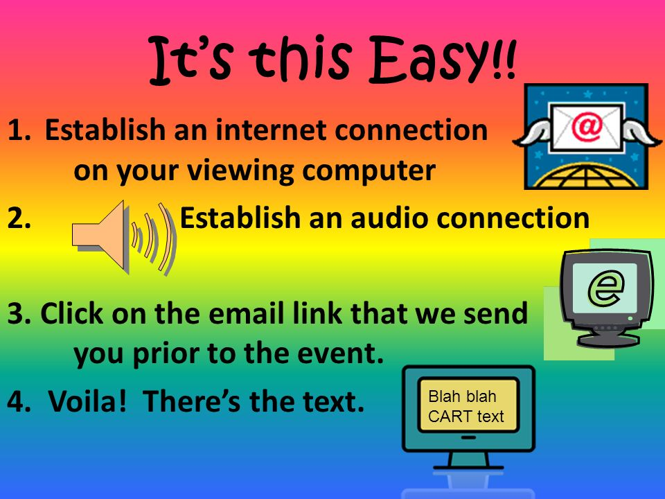 It's this Easy!! Establish an internet connection on your viewing computer. Establish an audio connection.