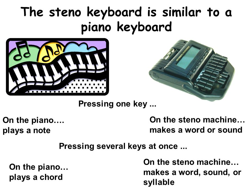 The steno keyboard is similar to a piano keyboard