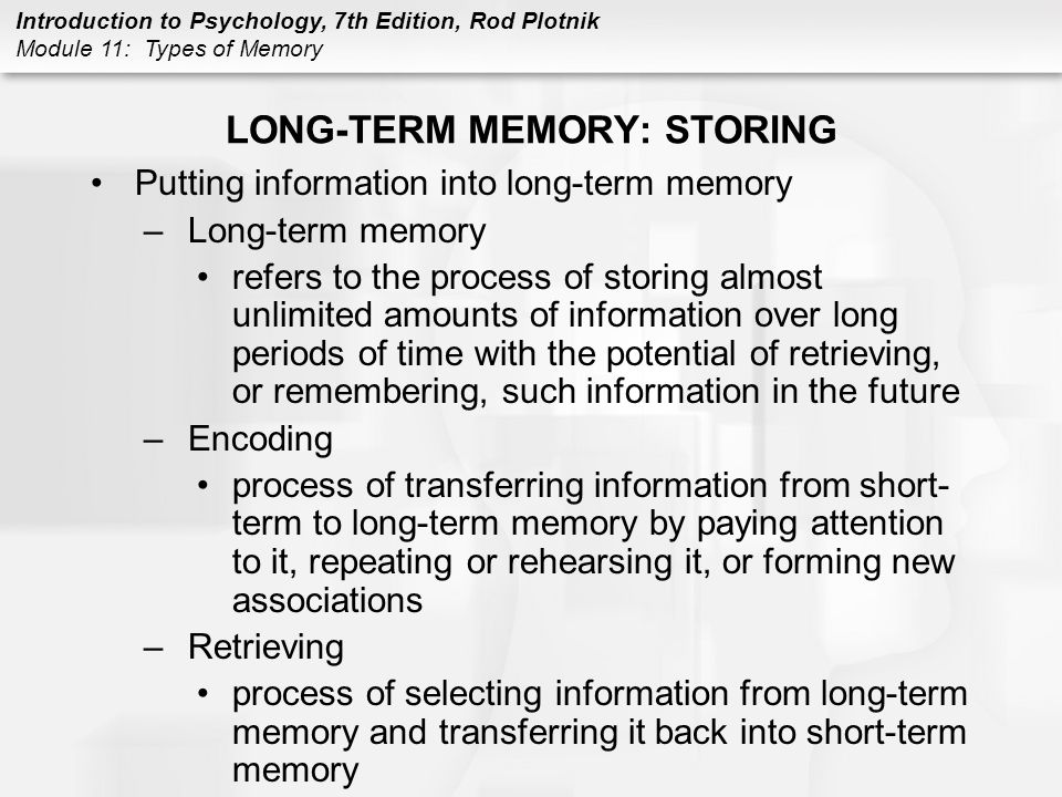 LONG-TERM MEMORY: STORING