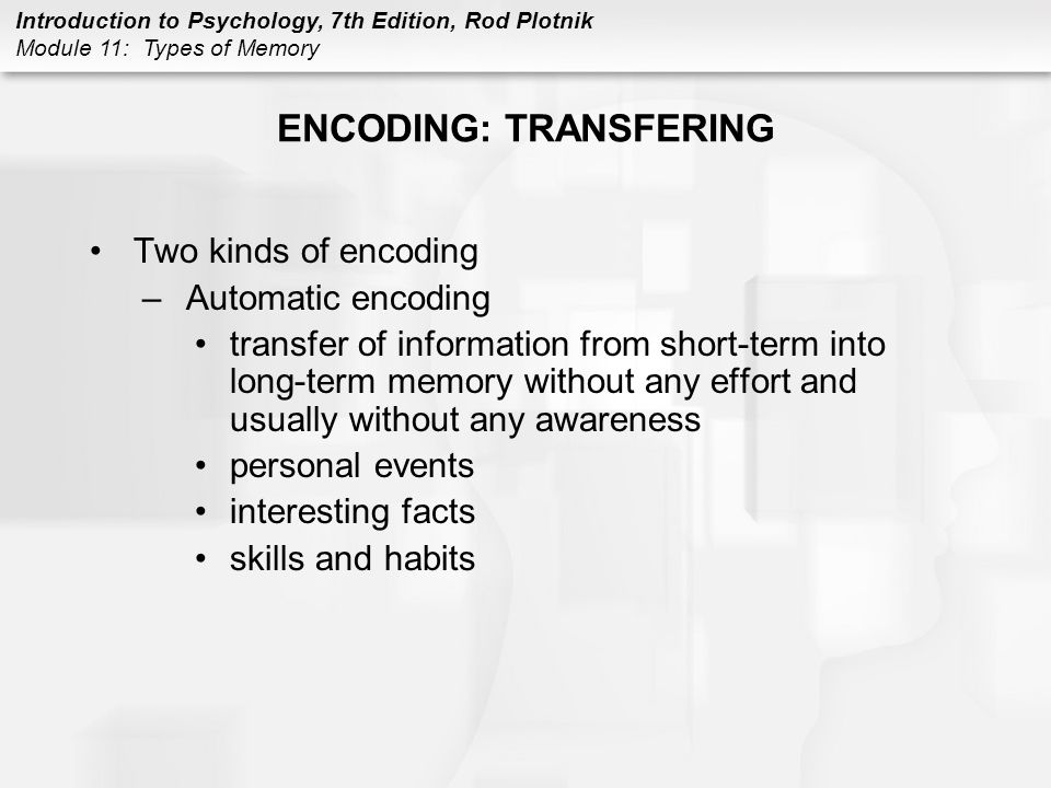 ENCODING: TRANSFERING