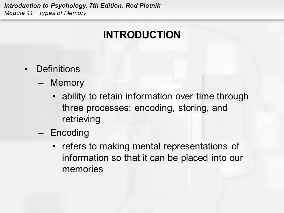 INTRODUCTION Definitions Memory