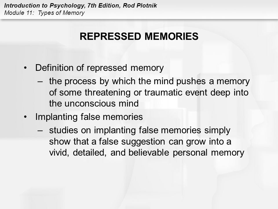 REPRESSED MEMORIES Definition of repressed memory