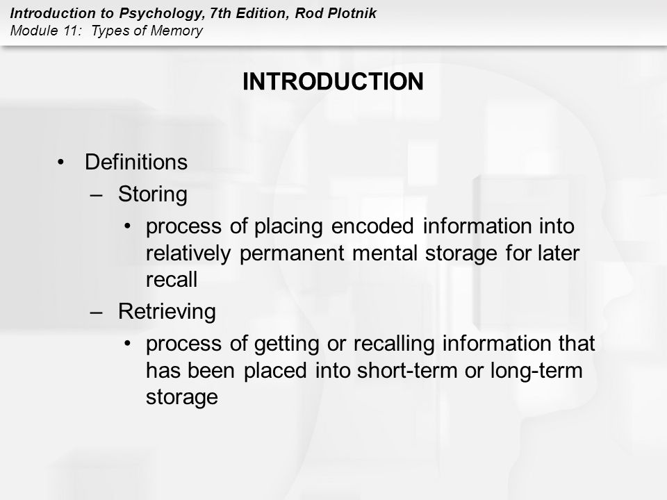 INTRODUCTION Definitions Storing