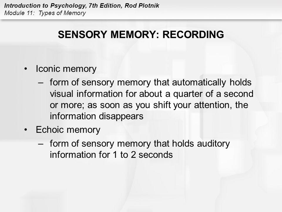 SENSORY MEMORY: RECORDING