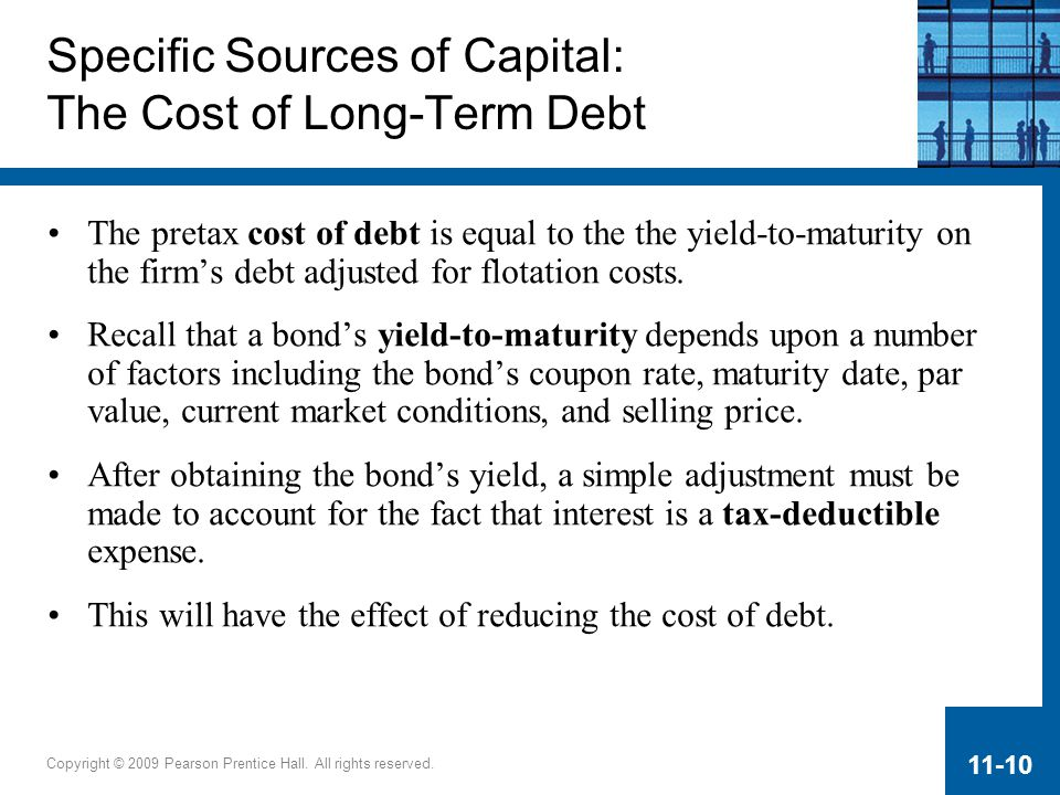 Specific Sources of Capital: The Cost of Long-Term Debt