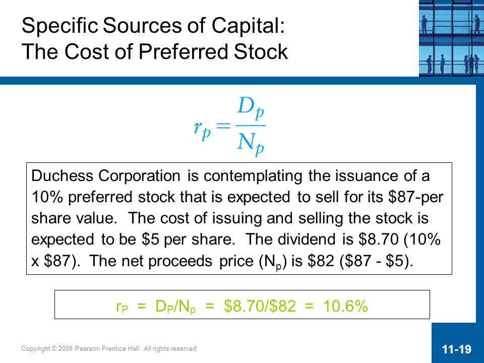 Specific Sources of Capital: The Cost of Preferred Stock