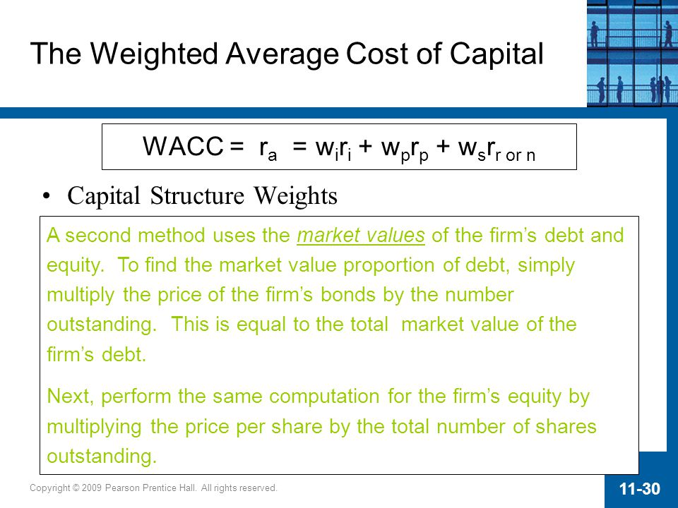 weighted average cost of capital and The calculation of a firm's cost of capital, in which each source is weighted, is called the weighted average cost of capital.