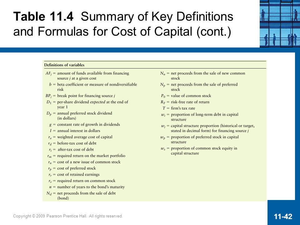 Table 11.4 Summary of Key Definitions and Formulas for Cost of Capital (cont.)