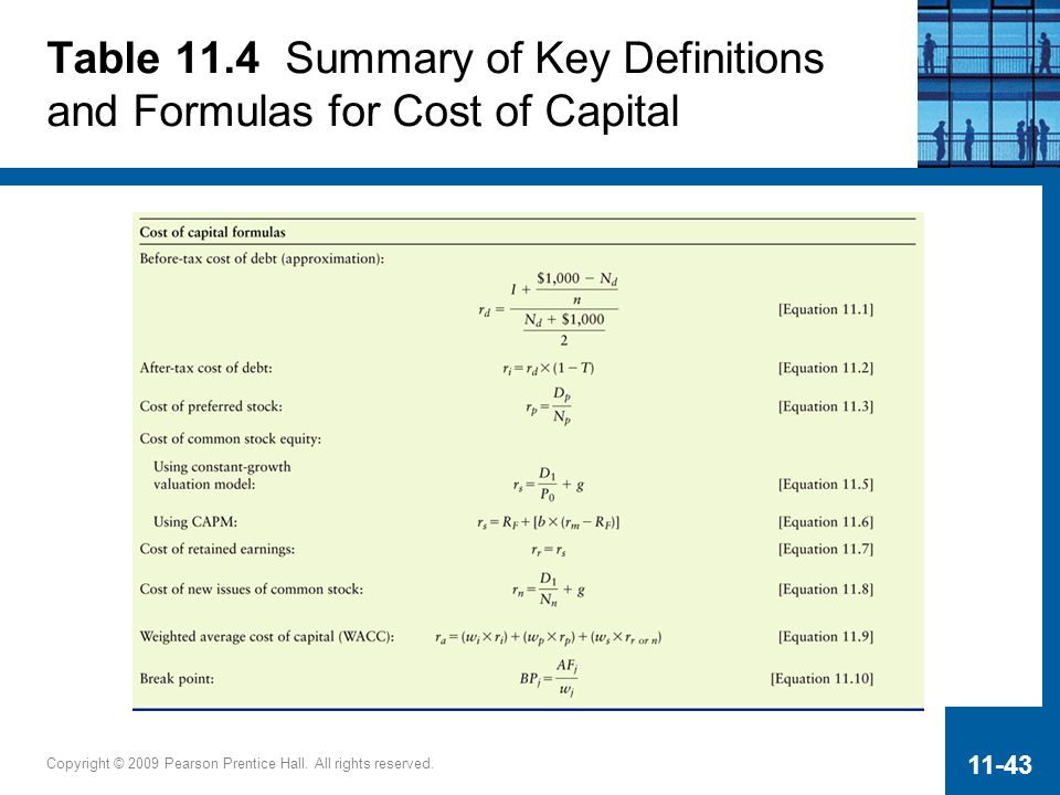 Table 11.4 Summary of Key Definitions and Formulas for Cost of Capital