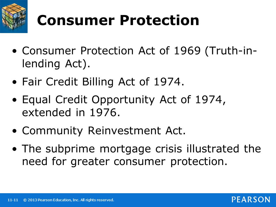 Consumer Protection Consumer Protection Act of 1969 (Truth-in-lending Act). Fair Credit Billing Act of 1974.