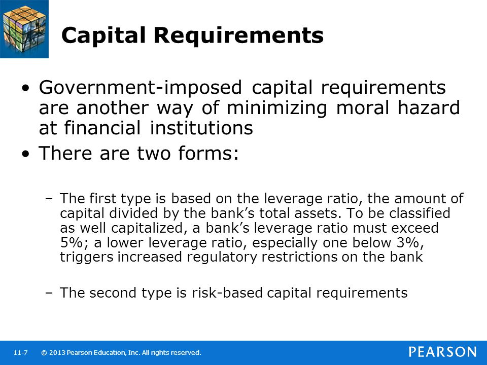 Capital Requirements Government-imposed capital requirements are another way of minimizing moral hazard at financial institutions.