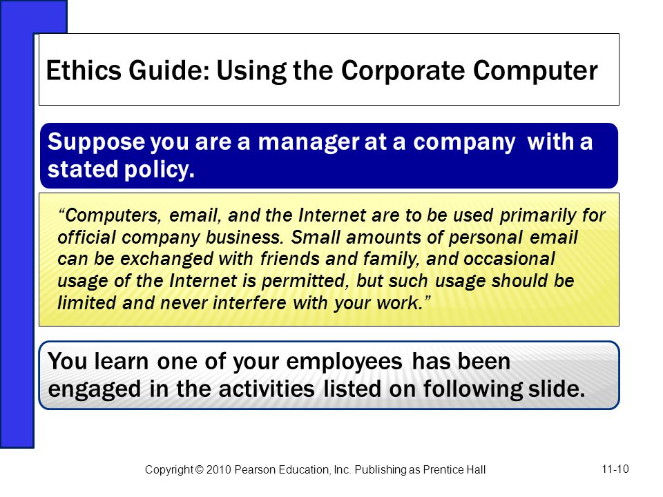 Ethics Guide: Using the Corporate Computer