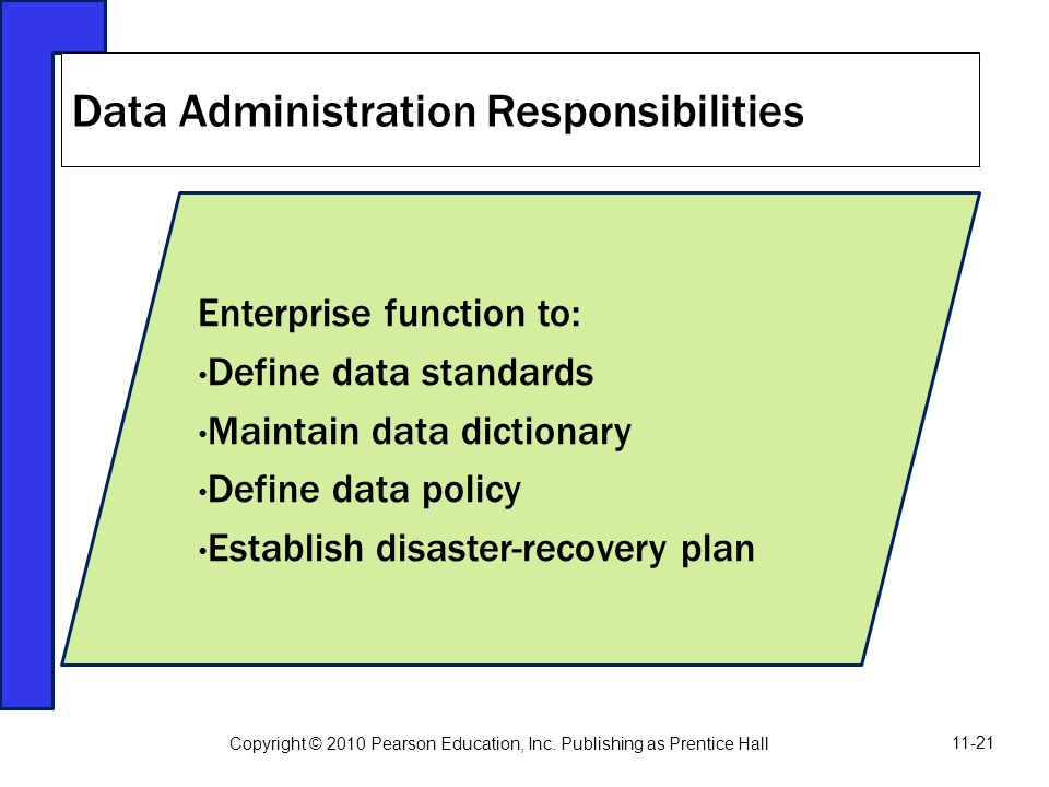 Data Administration Responsibilities