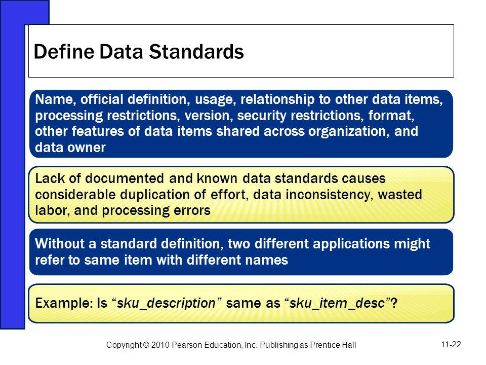 Define Data Standards