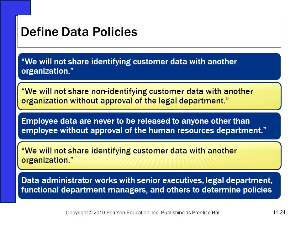 Define Data Policies We will not share identifying customer data with another organization.