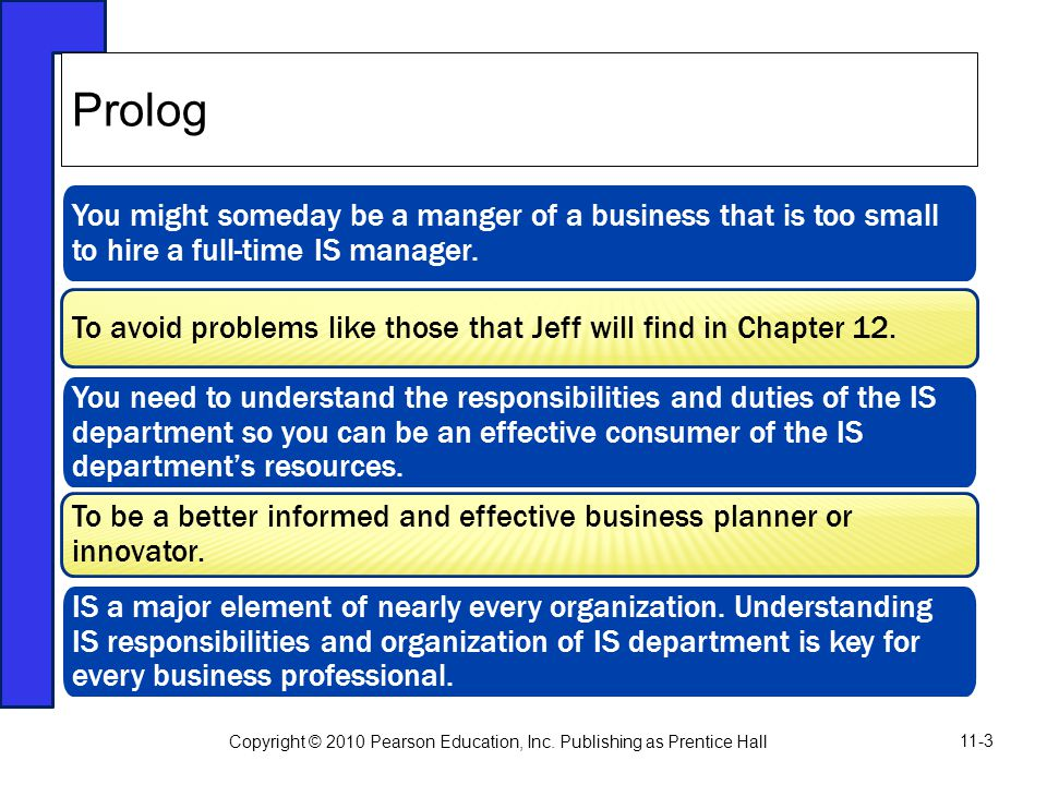 Prolog You might someday be a manger of a business that is too small to hire a full-time IS manager.