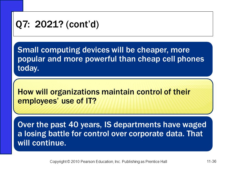 Q7: 2021 (cont'd) Small computing devices will be cheaper, more popular and more powerful than cheap cell phones today.