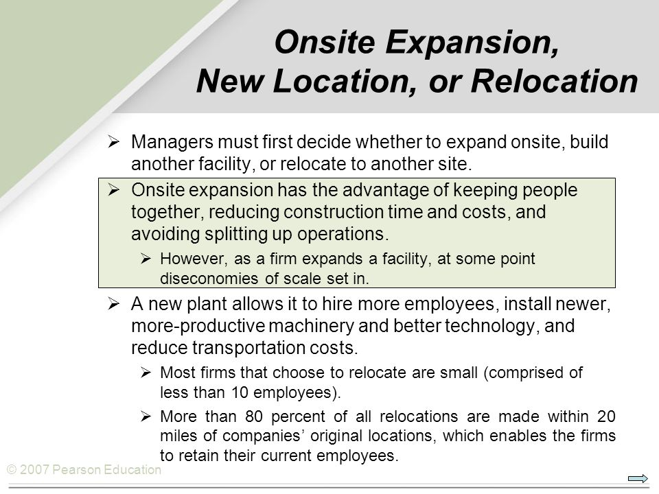 Onsite Expansion, New Location, or Relocation