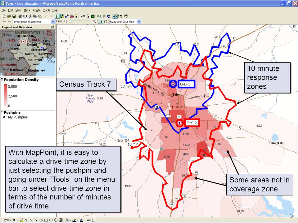 10 minute response zones Census Track 7.