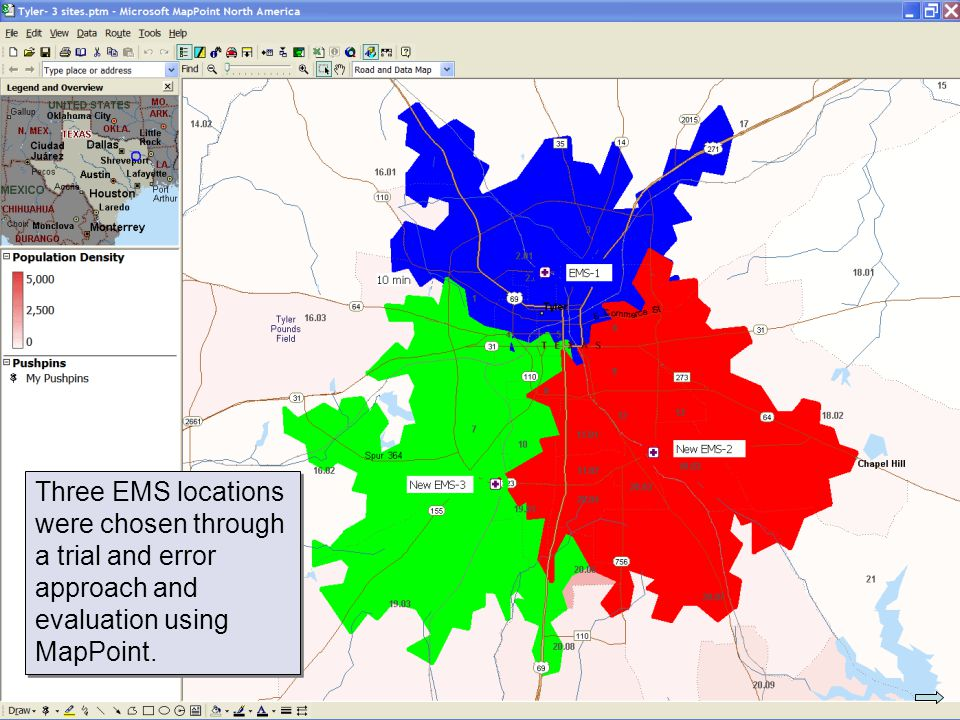 Three EMS locations were chosen through a trial and error approach and evaluation using MapPoint.