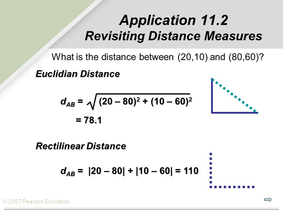 Application 11.2 Revisiting Distance Measures