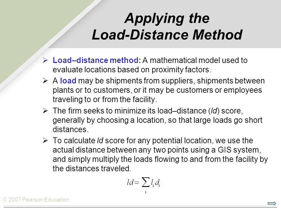 Applying the Load-Distance Method