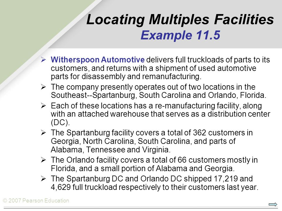 Locating Multiples Facilities Example 11.5