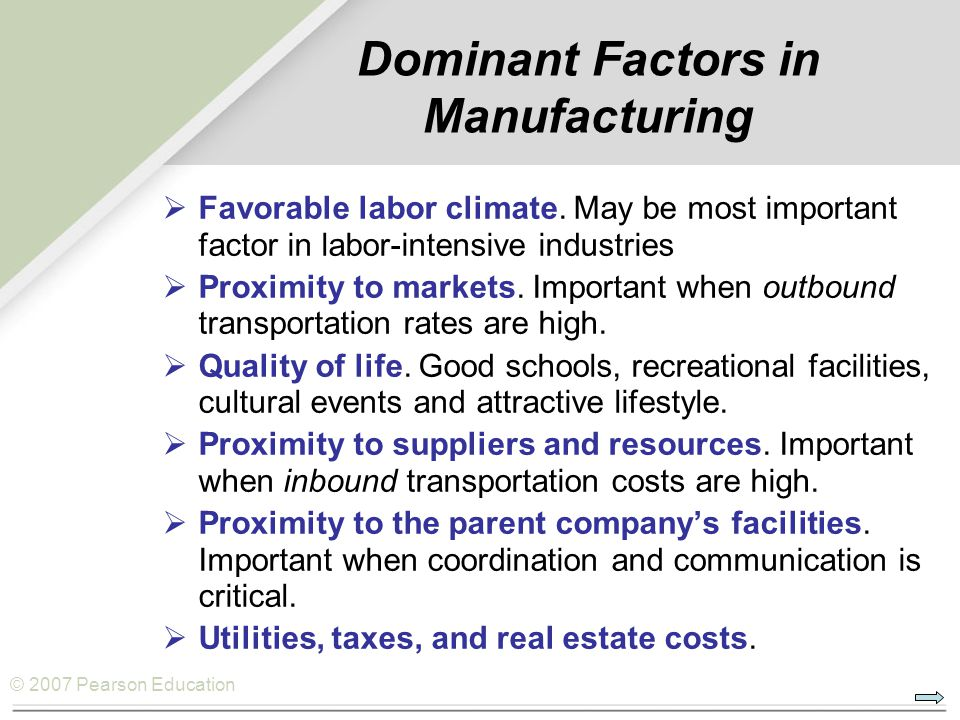 Dominant Factors in Manufacturing