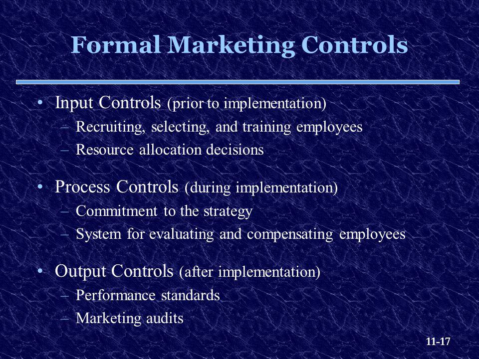 Formal Marketing Controls