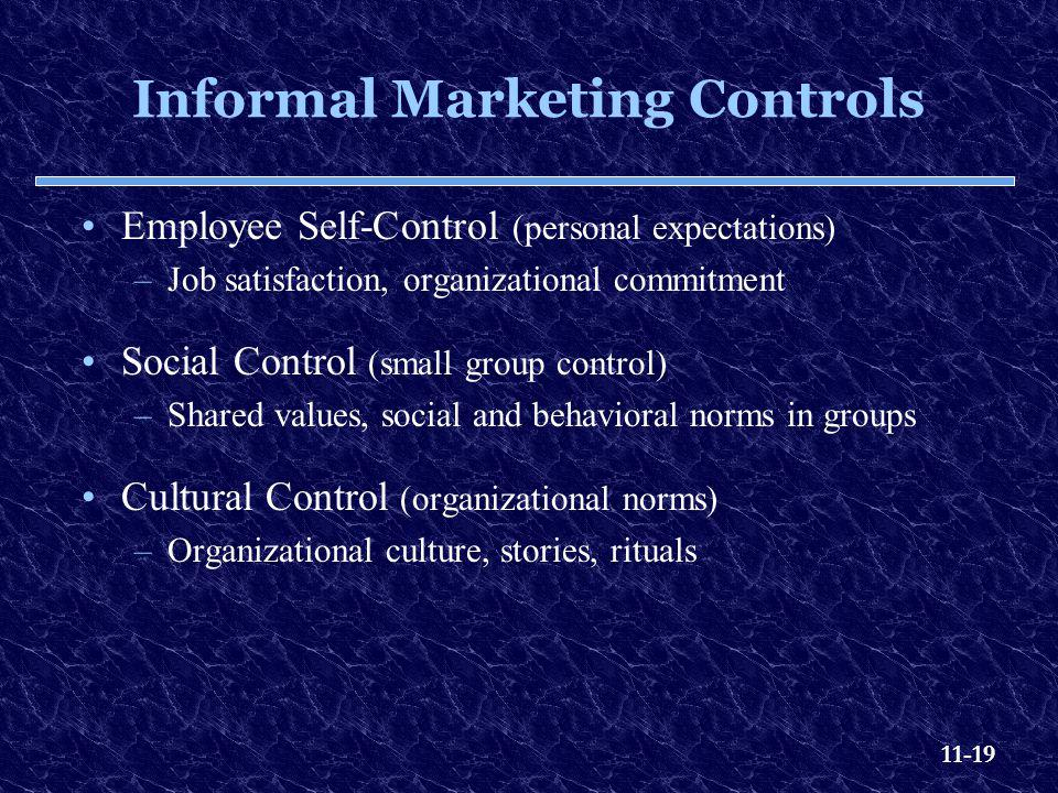 Informal Marketing Controls