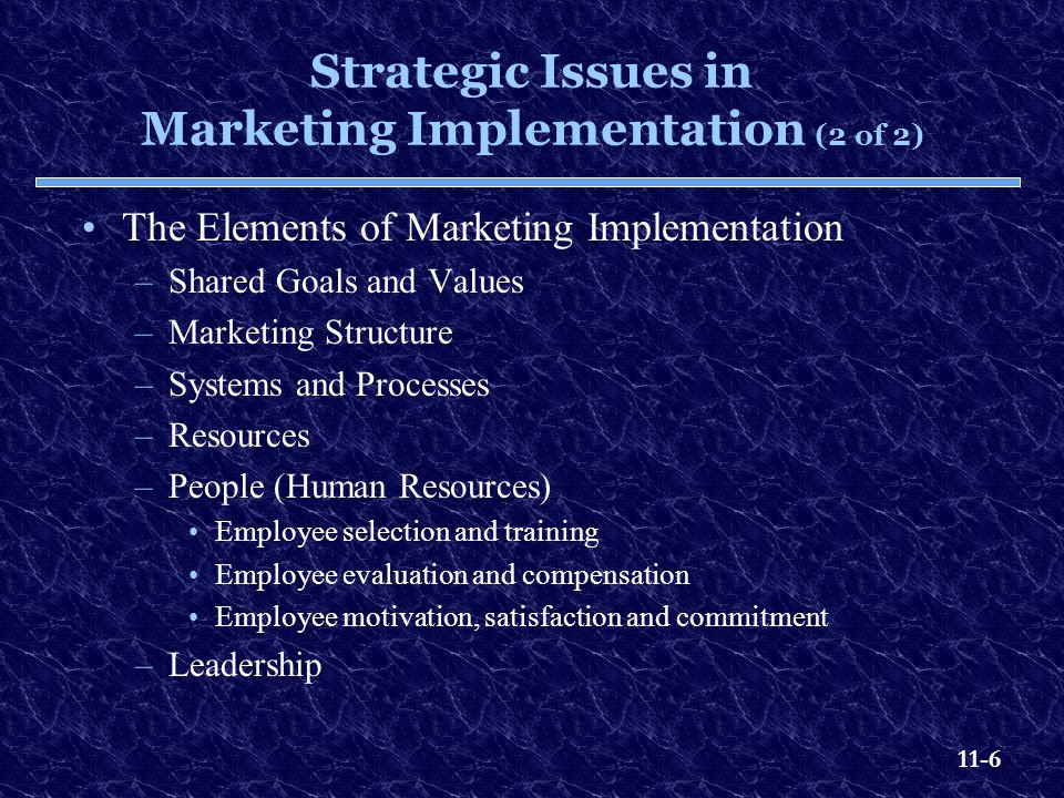 Strategic Issues in Marketing Implementation (2 of 2)