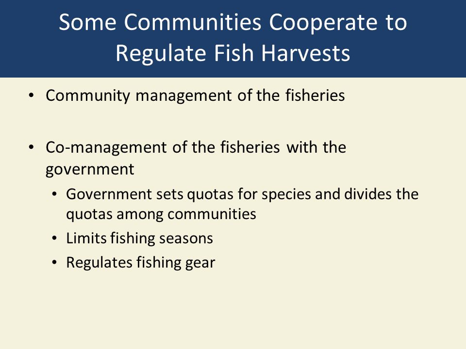 Some Communities Cooperate to Regulate Fish Harvests