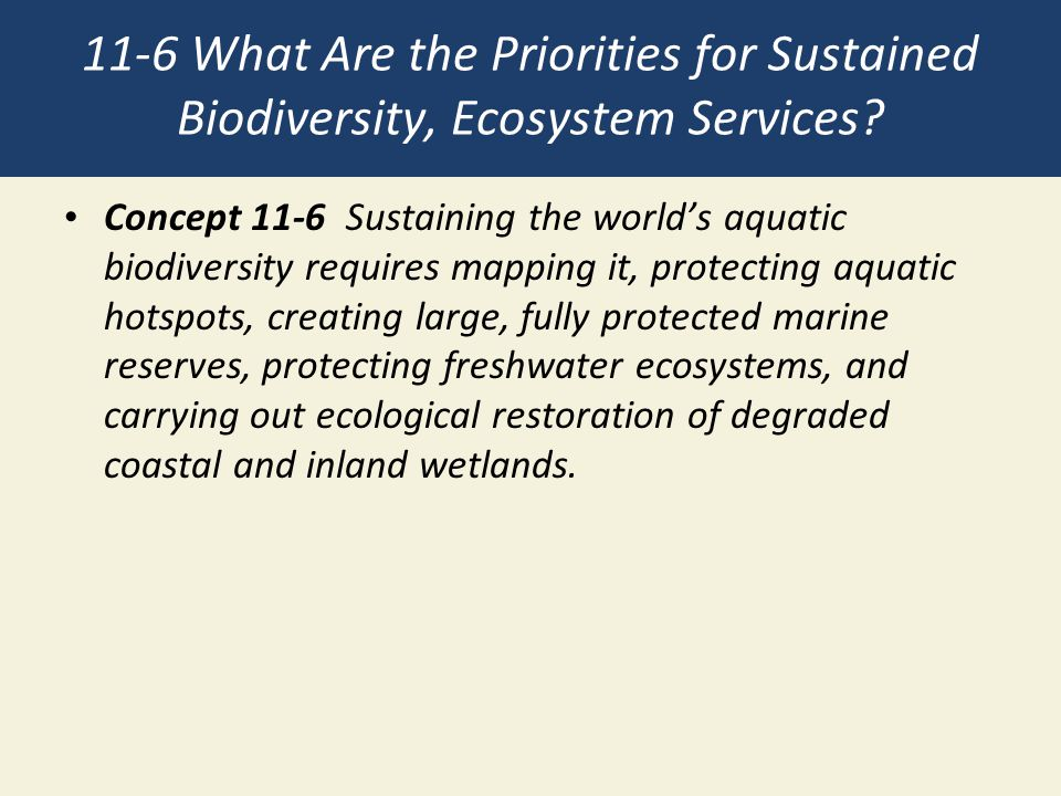 11-6 What Are the Priorities for Sustained Biodiversity, Ecosystem Services