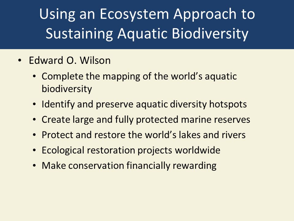 Using an Ecosystem Approach to Sustaining Aquatic Biodiversity
