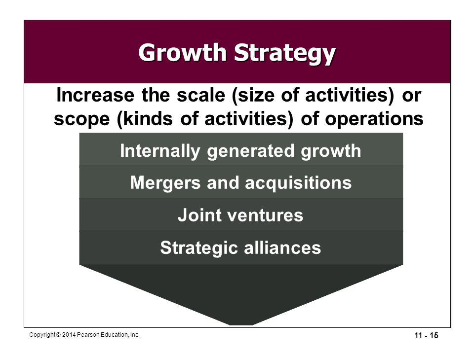Growth Strategy Increase the scale (size of activities) or