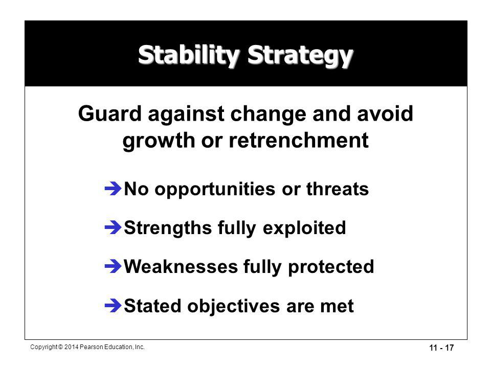 Guard against change and avoid growth or retrenchment
